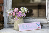 Spring Flower Bouquet in Metal Pot and Sign with Text