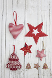 Christmas Ornaments on White Wood