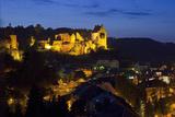 Luxembourg  Mullerthal  Larochette  Larochette Castle  Illuminated  at Night