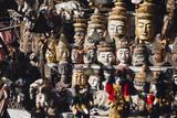 Various Burmese Statues/Masks on Display at Market in Bagan  Myanmar