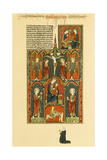 Illuminated Manuscript: Jesus on the Cross and Mary and Baby Jesus