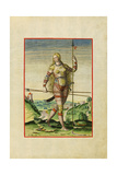 Illustration of Feminae Pictea from Theodor Debry's Narratio Virginiae  1590