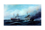 Steamship Neckar Rescuing Crew of Burning Vessel