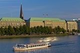 Germany  Hamburg  the Inner Alster with Excursion Boat and Hapag-Lloyd Shipping Company