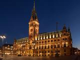 Hamburg  Panorama  City Hall Market  in the Evening