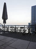 Terrace at the Elbufer  Fog in the Harbour  Holzhafen  Hanseatic City of Hamburg  Germany