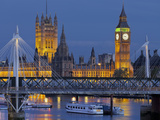 The Thames  Westminster Palace  Hungerford Bridge  Big Ben  in the Evening