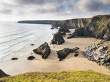 England  Cornwall  Bedruthan Steps  Coast  Sandy Beach  Rocks  Sea