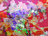 Photographic Layer Work from Poenies in Water with Spring Blossom Ornaments