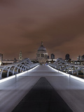 Millenium Bridge  Night Photography  St Paul's Cathedral  the Thames  London  England  Uk