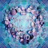 Photographic Layer Work of a Heart from Seashells and Floral Ornaments in Blue Lavender Tones