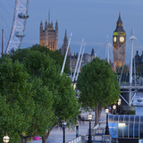 River Thames Shore  in the Evening  Westminster Palace  Big Ben  London Eye