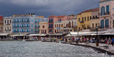 Greece  Crete  Chania  Venetian Harbour  Waterside Promenade