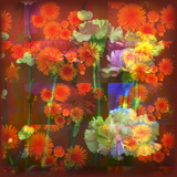 An Abstract Geometric Floral Montage Photographic Layer Work