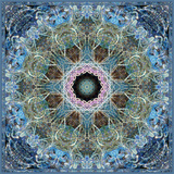 Gentle Blue Frosted Leafes in the Forest Mandala