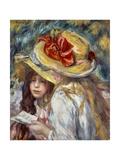 Young Girls with Hats Reproduction d'art par Pierre Auguste Renoir
