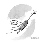 """Super Fly"" -- A fly carries a frog by the tongue through the air  - New Yorker Cartoon"