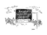 "Road sign reading ""Entering ""So  what are your kids doing"" Formerly Brook - New Yorker Cartoon"