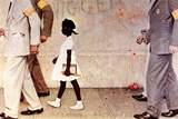 The Problem We All Live With (or Walking to School--Schoolgirl with U.S. Marshals) Giclée par Norman Rockwell