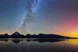 Northern Lights over Jackson Lake Pano