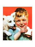 Laughing Boy with Sandwich and Puppy