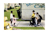New Neighbors (or New Kids in the Neighborhood; Moving In) Giclée par Norman Rockwell