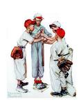 Four Sporting Boys: Baseball Giclée par Norman Rockwell