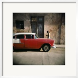 Old Red Car  Havana  Cuba  West Indies  Central America