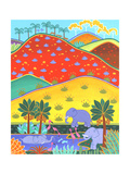 Elephants in Lake Beneath Colorful Rolling Hills Reproduction d'art