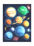 Arrangement of Colorful Planets on Galaxy Background Reproduction d'art