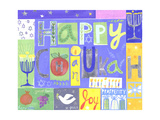 Collage with Menorahs  Pomegranates  Stars  and Happy Chanukah Lettering