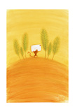 Tiny Cat Carrying Stamped Envelope Past a Row of Trees Reproduction d'art