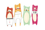 Whimsical-Style Bears Wearing Pants and T-Shirt Reproduction d'art