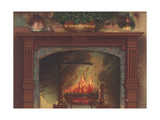 Lit Fireplace with Wooden Mantel
