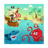Pirate Ship with Shark and Octopus in Water with Treasure Reproduction d'art