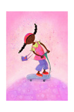 African-American Girl Happily Riding Scooter Reproduction d'art