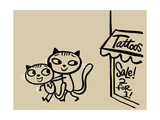 Cat Pushing Friend Away from Tattoo Parlor