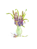 Watercolor of Small Purple Flowers with Long Leaves in Vase