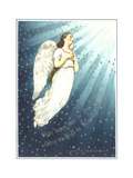 Floating White Angel with Rays of Light