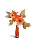 Watercolor of Orange Flowers in Vase