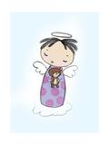 Girl Angel with Halo on a Cloud Holding a Teddy Bear
