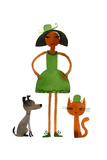 Woman in Green Dress with Cat and Dog