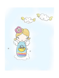 Girl Angel on Cloud with Basket in Hand
