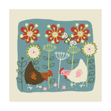 Two Hens Scratching at Seeds in Flower Garden