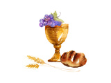 Watercolor Style of Bread  Grapes  and Chalice