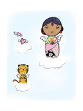Angel and Cat Floating on Clouds