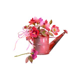 Watering Can with Bow Filled with Red and Pink Flowers