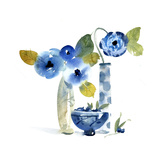 Flowers in Vases and Blueberries in Bowl