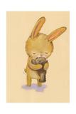 Brown Bunny Hugging Teddy Bear Reproduction d'art