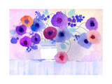Watercolor of Vase Holding Purple and Blue Flowers